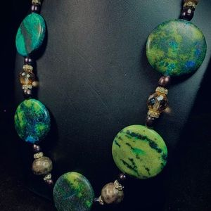 Dyed stone, metal and glass necklace. Vintage